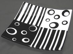 Contemporary Black & White Dish - Stripes and Stickers make this a great easy piece!