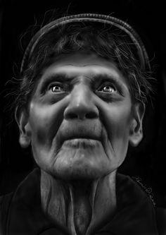 Old man portrait. Digital paint