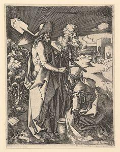 Marcantonio Raimondi; Christ Appearing to the Magdalen as a Gardener (Italian engraving after Durer, c. 1500-34); Metropolitan Museum of Art, New York