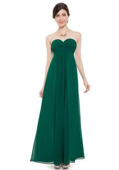 Strapless Floor Length Green Chiffon Sheath-Column Evening Dress