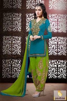 Pavitraa Turquoise or Olive Bridal Patiala Salwar Suit Rs 4984.2 #diwaliutsav #dipavalisalwarsuits #dipawalioffer