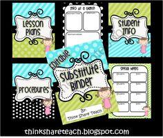 Editable Substitute Binder-Blue Green product from ThinkShareTeach on TeachersNotebook.com