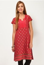 Short Sleeve Printed Red Kurti