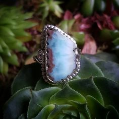 Bekijk dit items in mijn Etsy shop https://www.etsy.com/nl/listing/259929621/larimar-ring-sterling-silver-in-size-75