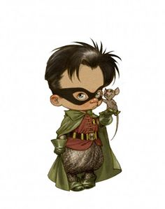Little Robin - Superheroes depicted as adorable little kids.  Click through @Rebecca Hoopes