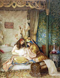by kamil aslanger Beautiful Drawings, Beautiful Paintings, Empire Ottoman, Arabian Art, Arabian Women, Academic Art, Turkish Art, Classic Paintings, Classical Art