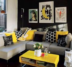 30 Modern Summer Living Room Designs For 2018 Grey And Yellow Living Room, Yellow Decor, Living Room Grey, Summer Living Room, Interior Design Living Room, Black Living Room, Living Room Decor Cozy, Living Room Decor Gray, Living Decor