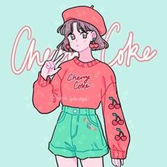 Q: what's your favorite part of this outfit design? 💕 Contest entry for 's mood board contest! Man I wish I could pull off berets🥺 I didn't end up using all the elements of the board but instead drew more heavily on the cherry coke aesthetic ❤️ Tag: Aesthetic Drawing, Aesthetic Anime, Aesthetic Art, Aesthetic Outfit, Cartoon Art Styles, Cute Art Styles, Art Anime, Anime Art Girl, Kawaii Drawings
