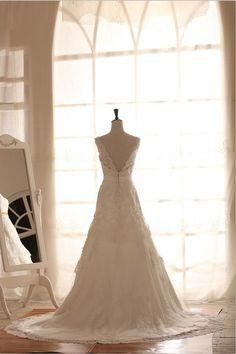 Lace Wedding Dress Deep V Back Open Back Dress with Beading Sash