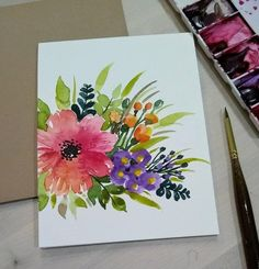 Set of hand painted watercolor color Flower bunch/ Blank greeting/ Get well soon/ Birthday/ valentine /Thank you cards Acrylic Painting Flowers, Watercolor Flowers, Drawing Flowers, Watercolor Landscape, Paintings Of Flowers, Painted Flowers, Art Floral, Watercolor Paintings For Beginners, Watercolor Portraits