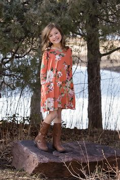 Rust Floral Dress, Dress, floral Dress, Long Sleeve Dress, Online Shopping, Online Boutique, Boutique, Ryleigh Rue Clothing, Fashion, Style, OOTD, Outfit inspiration, Kids Boutique, Little Girls Style