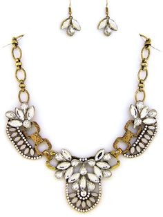 Inspired Burnished Gold and Crystal Necklace Set #Unbranded