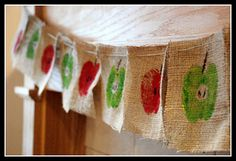 I love the idea of doing apple prints on burlap.  Would be precious on a reusable grocery bag.