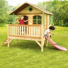 Great size kids wooden playhouse for outdoor usage, with an elevated platform and slide. Let your kids slide down in style! Kids Wooden Playhouse, Modern Playhouse, Kids Indoor Playhouse, Outside Playhouse, Backyard Playhouse, Kids Slide, Wooden Ladder, Outdoor Garden Furniture, House In The Woods