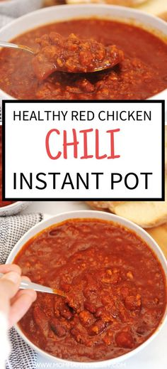 best easy and healthy chicken chili recipe that can be made in the instant pot, slow cooker or crockpot.  Great soup for dinner