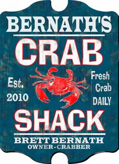 Crab Shack Personalized Vintage Pub Sign - A custom gift to enhance the décor of any home!