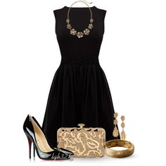 """black cocktail dress"" by lgb321 on Polyvore"