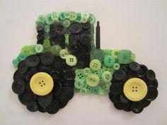"""John Deere Tractor: Draw the outlines and fill in with appropriate coloured buttons. Great for a boys room or a """"man of the land"""" that has everything"""