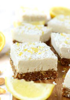 These raw Lemon Coconut Cheesecake Bars are naturally sweetened, gluten-free, vegan, paleo, and a perfectly refreshing dessert!(Lemon No Baking Cheesecake)