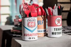 What an awesome way to serve cutlery at this Route 66 and Vintage Vehicles Birthday Party! See more party ideas and share yours at CatchMyParty.com