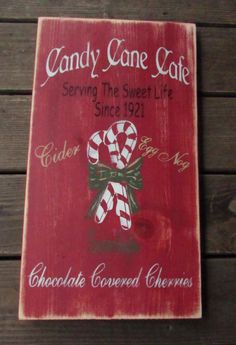 Christmas sign candy canes Christmas cafe by mockingbirdprimitive
