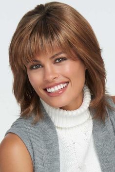 Introducing the Infatuation Elite Monofilament Wig by Raquel Welch. Textured bangs blend into long razor-cut layers, adding plenty of texture and movement. A lace front monofilament top and hand-tied base offer ultimate comfort and endless styling ca Bob Pixie Cut, Pixie Cut With Bangs, Synthetic Lace Front Wigs, Synthetic Wigs, Medium Hair Styles, Natural Hair Styles, Textured Bangs, Wilshire Wigs, Raquel Welch Wigs