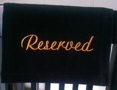Fabric Reserved sign for chair, pew, church, theater, venue, reception, wedding, social distancing Pantone Color, Gold Embroidery, Embroidery Fonts, Pew Markers, Wedding Pews, Reserved Seating, Reserved Signs, Stage Design