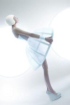 Futuristic Fashion - space age dress with white cage skirt & helmet; sculptural fashion // Ilya Plotnikov & Alexandra Zaharova