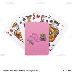 It's a Girl Pacifier Shoes Poker Cards
