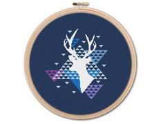Geometric Deer Counted Cross stitch Pattern PDF by KHANNAandILAN