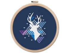 Geometric Deer, Counted Cross stitch, Pattern PDF, Cross Stitch Chart , Cute Cross Stitch, Cross stitch pattern, pixel art, 0246