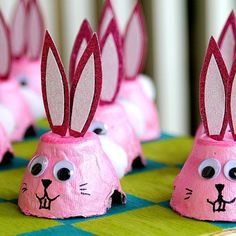 Egg Carton Cups Bunnies
