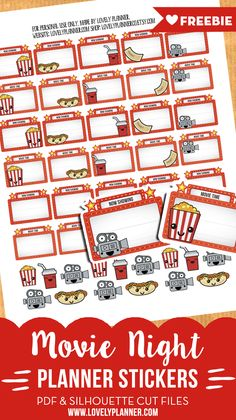 45 Free movie night planner stickers with marquee signs and cute characters to write down the title of the movies you are going to see. PDF and cut files.