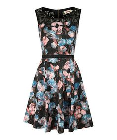 Take a look at this Blue & Pink Floral Dress by Louche on #zulily today! A hint of lace is all this needs to make it special.