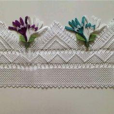 Igne oyasi havlu Needle Lace, Lace Making, Filet Crochet, Quilling Jewelry, Crochet Projects, Tatting, Knitting Patterns, Decorative Boxes, Diy Crafts