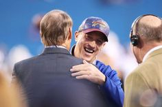 Hall of Fame quarterback Jim Kelly of the Buffalo Bills talks with former Pittsburgh Steelers coach Bill Cowher before the game between the Buffalo Bills and the New York Jets at New Era Field on Sept. 15, 2016 in Orchard Park, New York.