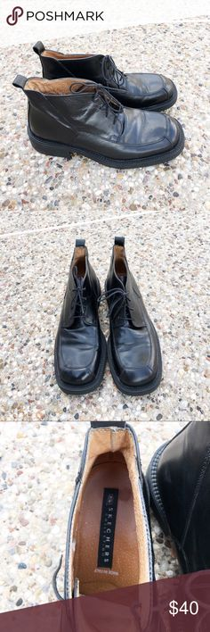 Men's Black Casual Dress Boots By Skechers These boots are so sturdy and made to last forever. They are genuine leather uppers and lining. They were made in Italy. Very classy yet comfy. It GUC. Only a little wear on leather lining inside. Skechers Shoes Boots