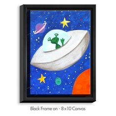 DiaNocheDesigns 'Flying Saucer' by NJoy Art Painting Print on Wrapped Framed Canvas