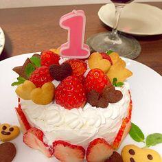 2015年2月6日 1歳の娘の誕生日にケーキを 作りました。 - 17件のもぐもぐ - 2/6 初めての手作りケーキ^_^ by ringoame24