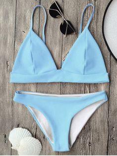 8e5d123860b40 Cami Plunge Bralette Bikini Top And Bottoms - Light Blue M