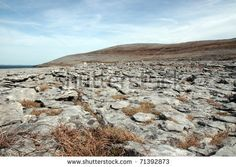 rocky landscape of the burren in county clare ireland - stock photo