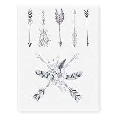 Shop Bohemian Arrow Temporary Tattoo Sheet created by LillyBeanBaby. Personalize it with photos & text or purchase as is! Tattoos For Women On Thigh, Arrow Tattoos For Women, Small Arrow Tattoos, Small Tattoos, Tiny Tattoo, Women Forearm Tattoo, Simple Neck Tattoos, Boho Tattoos, Wrist Tattoos
