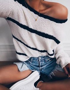 Shorts: striped sweater distressed denim off the shoulder off the shoulder sweater white sneakers