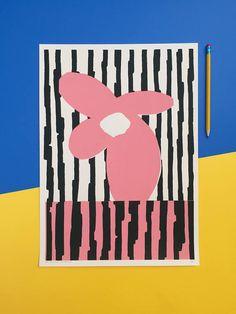 Handmade screen print of an abstract flower