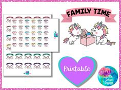 Uli Unicorn - Family Time printable planner stickers, family, kids, sisters, parents, erin condren, happy planner, kawaii