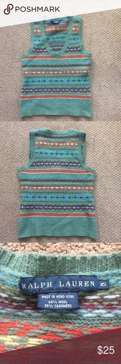 Ralph Lauren blue label sweater vest Wool/cashmere sweater vest by Ralph Lauren. In good condition. Ralph Lauren Sweaters V-Necks