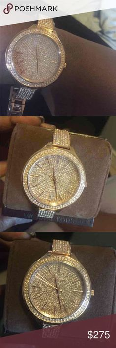 Michael Kors Watch Stunning Michael Kors watch. Brand new with tag attached. Orig. 350 Glitz watch with a thin band. Rose gold 100% Authentic Michael Kors Accessories Watches