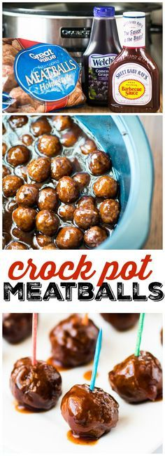 Crock Pot Grape Jelly + BBQ Meatballs - This easy crock pot meatballs recipe takes just 3 ingredients and tastes amazing every time.