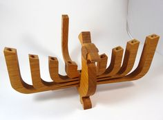 Peacock Wood Menorah Candle Holder Chanukah Hanukkah Jewish