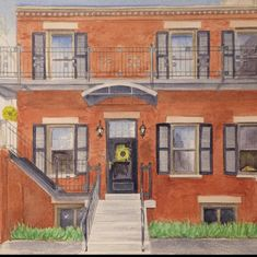 Watercolor painting of a beautiful brick east coast home. Custom watercolor house portraits. First Home Gifts, New Home Gifts, Arches Paper, House Illustration, House Drawing, Brick And Stone, Watercolor Artwork, Cool Lighting, Custom Paint